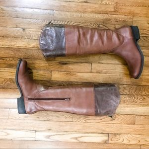 BCBG | Two Tone Chestnut Leather Riding Boots
